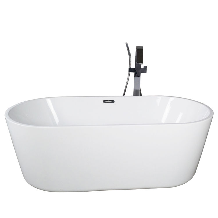 White bath tub bathroom plastic oval glossy bathtub freestanding 150cm bathtub