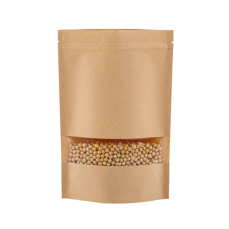 Each lot 100 pieces 18x25cm high quality standing up Kraft paper bag with window