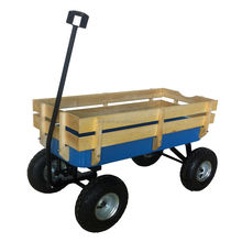 Heavy Duty Outdoor Wooden Rails Beach Wagon with Wheels