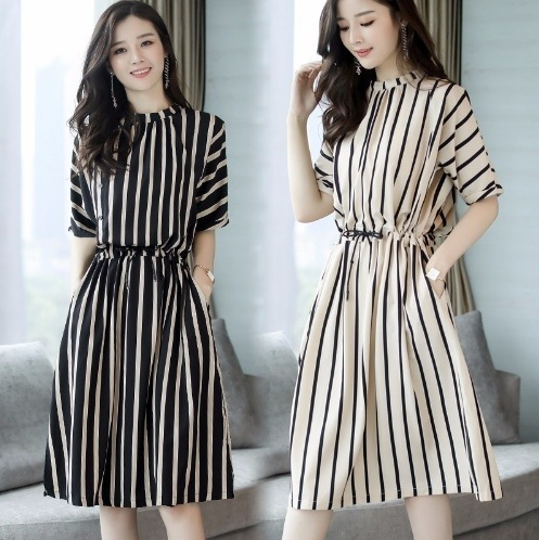 Fashion design ladies clothing Korean short sleeve stripe dresses chiffon girl summer dress