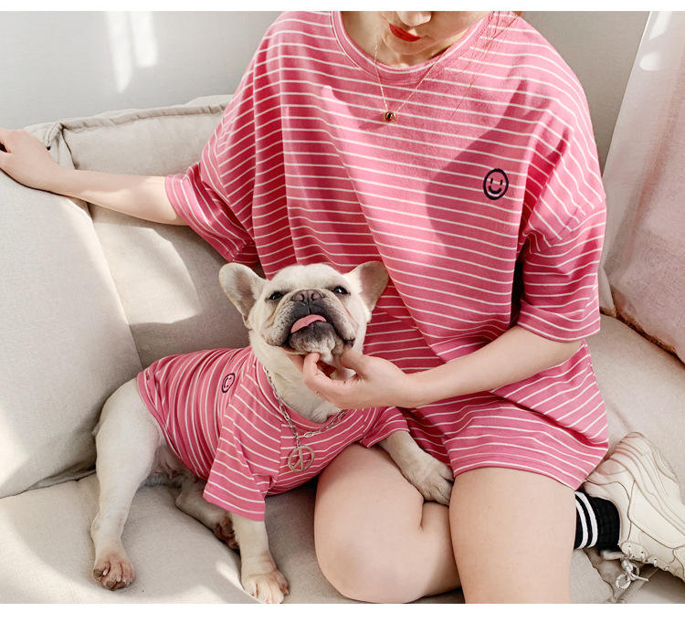 100% cotton Hot fashion stripe pet hoodies t shirt dog clothes match owner cotton summer t-shirt