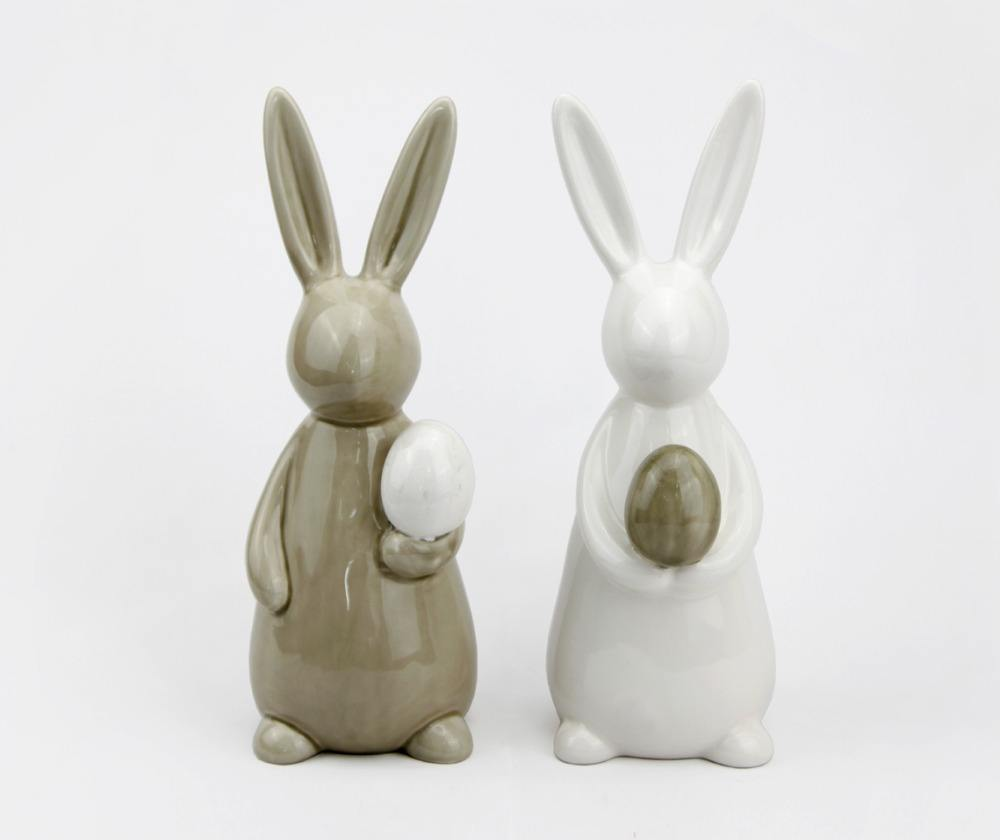Ceramic Rabbit Bunny Figurine Ornament,Bunny Holding Grey Egg for Easter Decoration