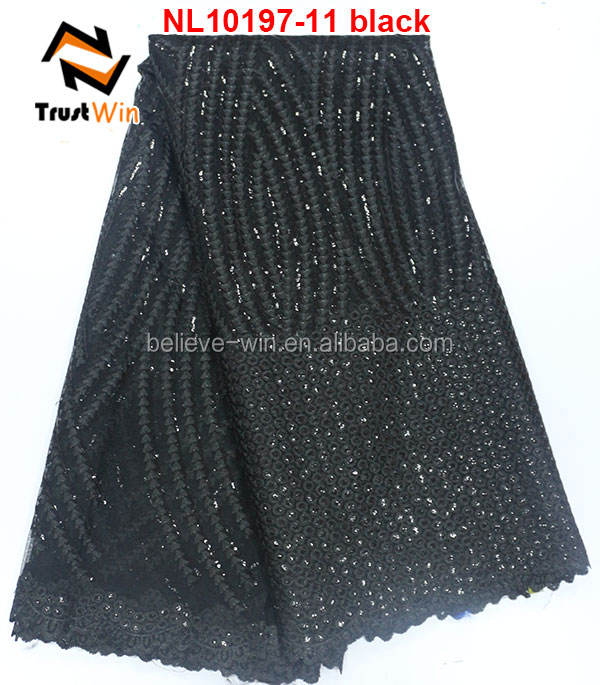 New design sequin embroidery fabric black lace fabric african tulle lace NL10197