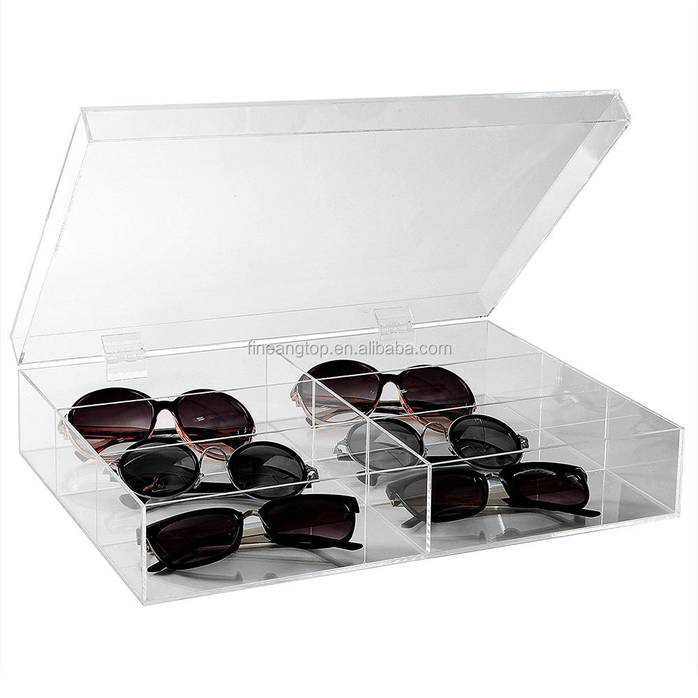 Acrylic 6 Slot Eyeglasses Sunglass Glasses Storage Organizer Box