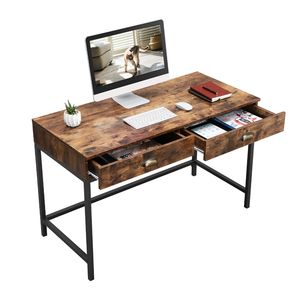 VASAGLE Home Office Furniture Space Saving Industrial Wood Particle Board Metal Legs Frame PC Computer Desk with Drawers