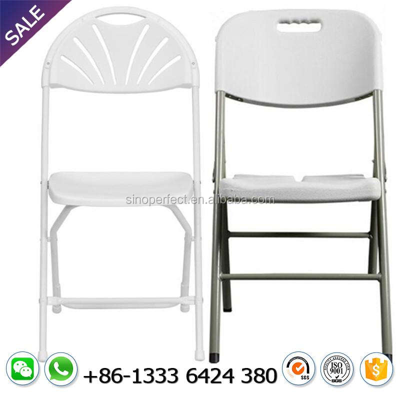 Wholesale cheap folding chair plastic foldable chair with fan back for outdoor wedding used