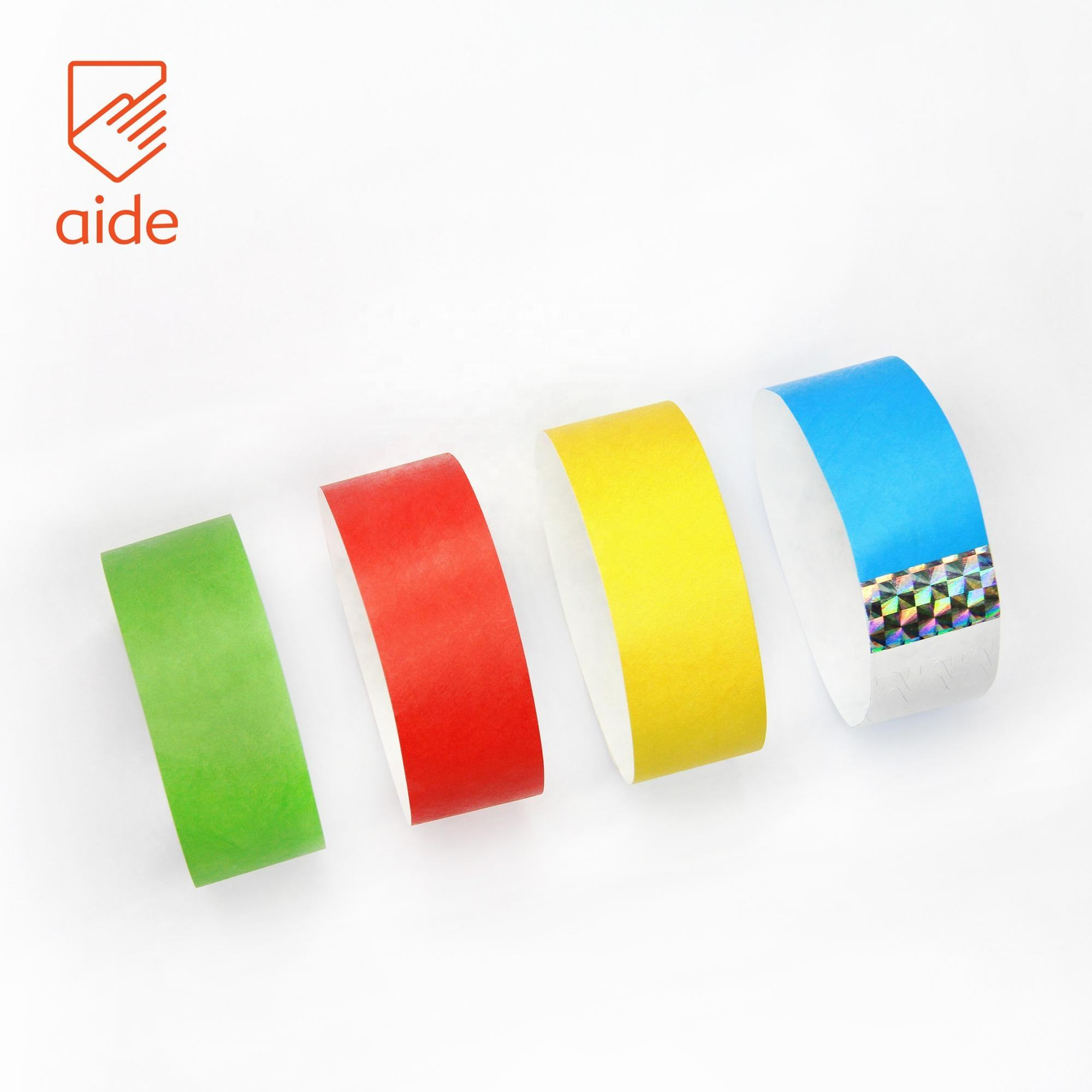 Event Paper Wristbands Water Proof Disposable Gliding Tyvek Printable Paper Tickets Wristbands ID Bracelets For Events