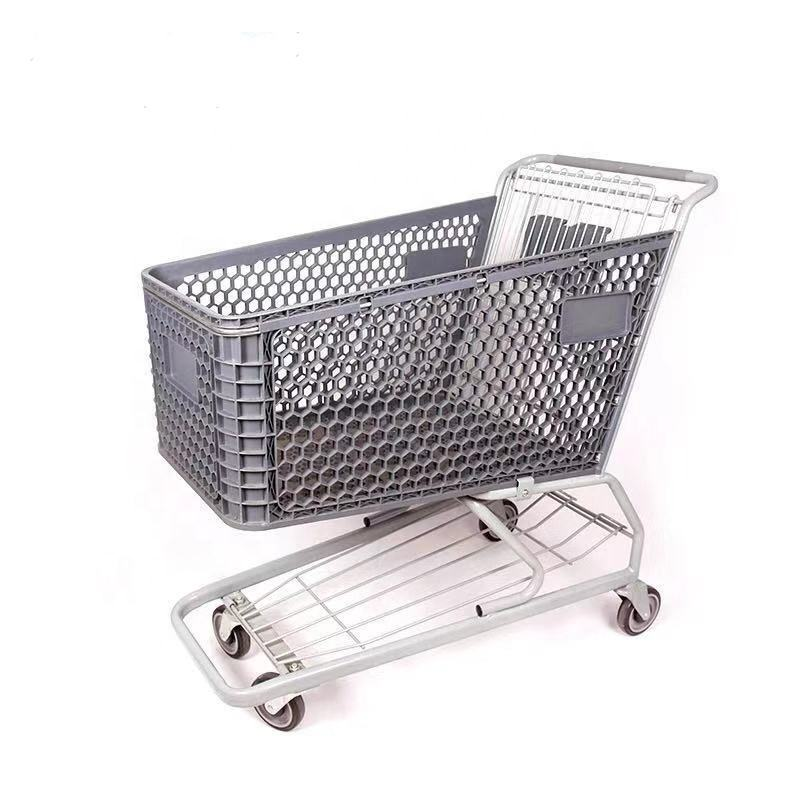 Materiale del metallo trollay Placcatura di Bicromato di Potassio 60L Stile Europeo Supermercato Shopping Push Trolley Carrello