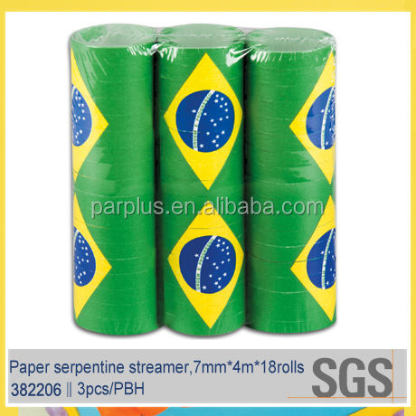Brazil national flag paper serpentine streamer