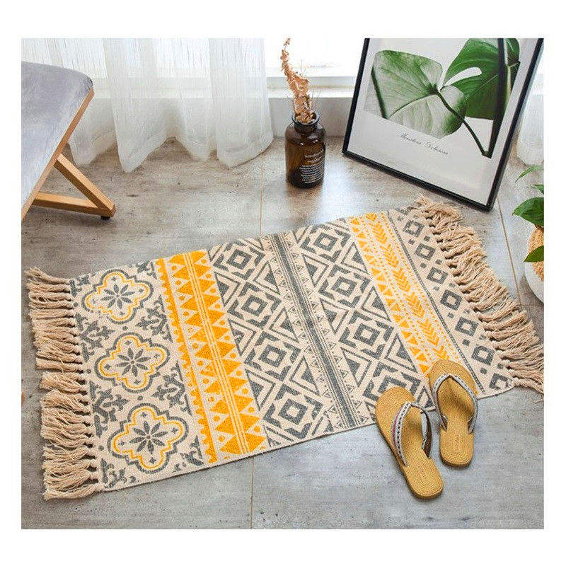 Geometric Pattern Vintage Carpet Sofa Living Room Bedroom Area Rug Cotton Tassels Yarn Dyed Home Decor Retro Mat