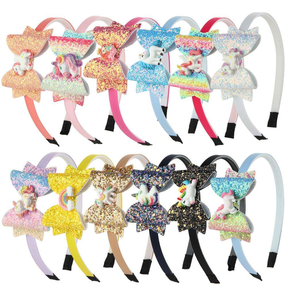 3inch Glitter Hair Bows Girls Party Headband Unicorn Hair Bows for Girls Hair Accessories