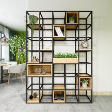 Vintage Black Office Bookcase Modern Boutique Display Shelf With Wooden Box Wooden Book Rack Wrought Iron Frame Bookshelf