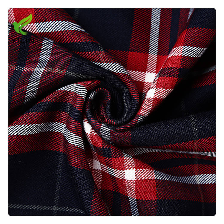 100% cotton yarn dyed woven twill check men's shirt fabric