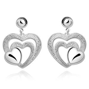 Tryme Elegant and beautiful heart-shaped Stud Earrings silver plated Fashion Jewelry Valentine's Day gift of choice