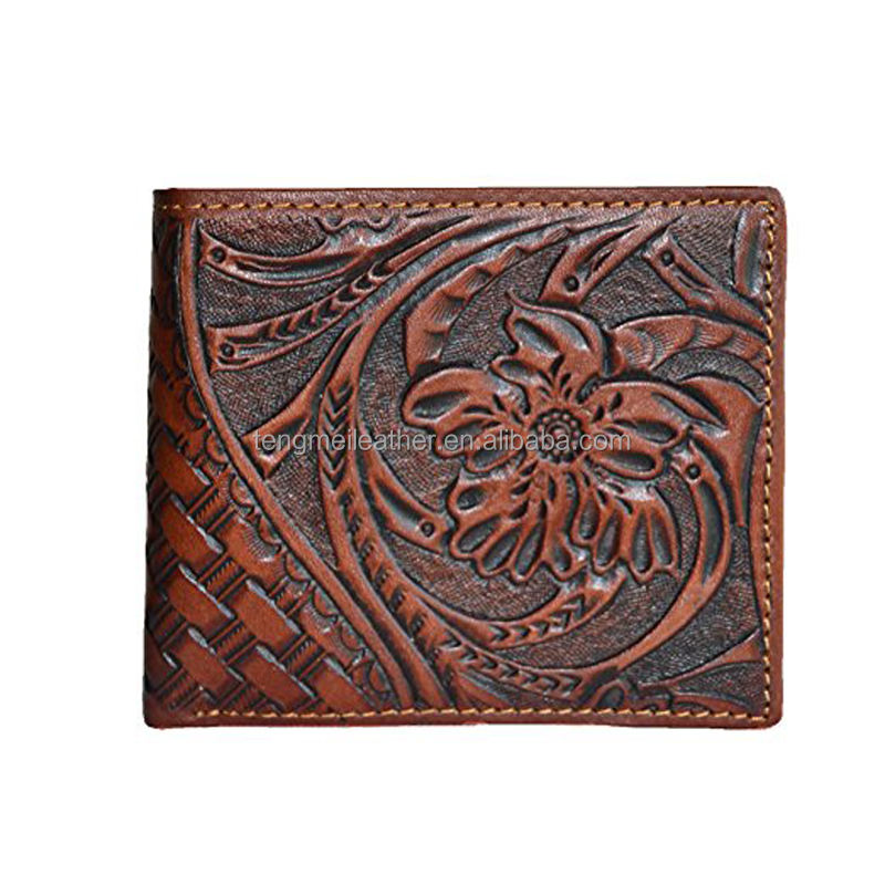 Western brown men floral tooled genuine leather small bifold wallet