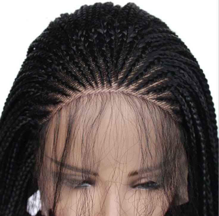 Synthetic braid lace front wigs higher temperature resistant fibre wig 24inch