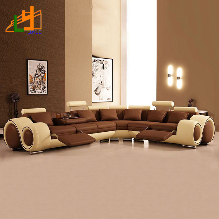 modern design genuine leather european style l or u shaped sofa luxury sectional furniture living room 8 seater sofa set