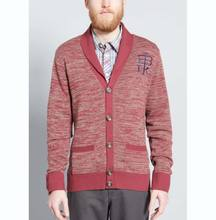 MEN'S 100% COTTON MARL CARDIGAN SWEATER WITH EMBROIDERY