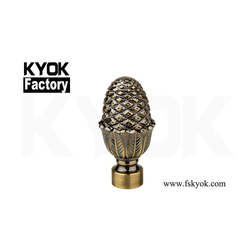 KYOK Hot Sale Decor Lamp Finials Brass Curtain Rod Finials Pine 22Mm Curtain Pole Finial