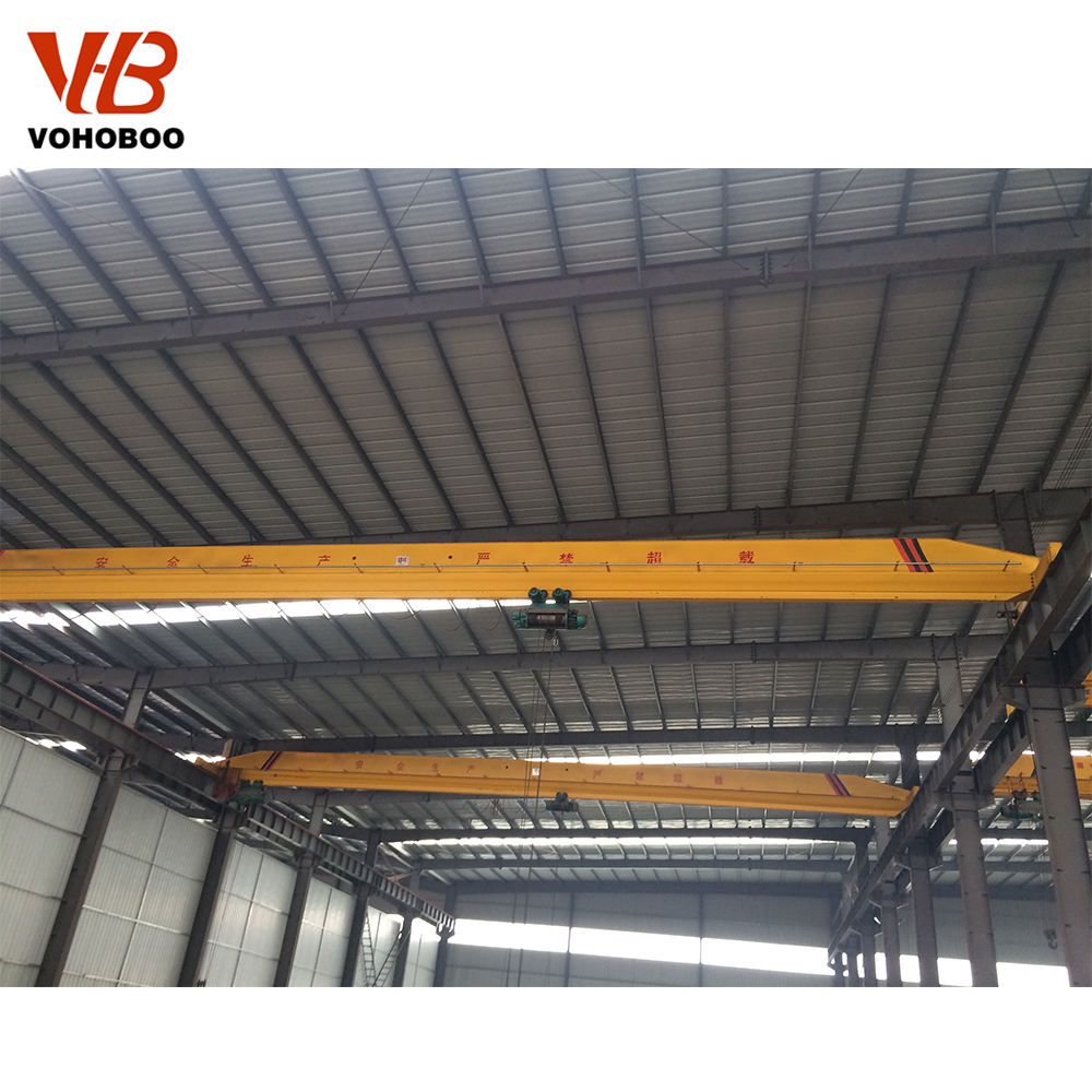 Single - girder beam rail electrical hoist travelling 15t overhead bridge crane