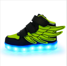 Sport shoes colorful wing pattern children casual Sneakers with led light