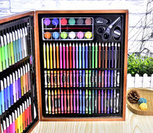 Water color pen artistic set 150 pcs with wooden case packing Drawing and Art Set