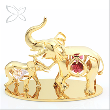 Crystocraft Deluxe Gold Plated Metal Mom and Son Elephants Figurine Decorated with Brilliant Cut Crystals