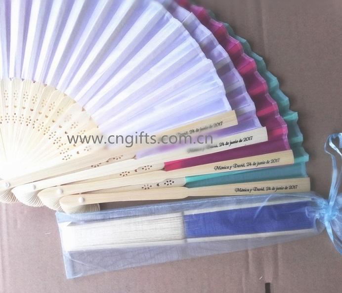 Wholesale Ywbeyond Cheap wedding souvenirs philippines personalized folding silk fans folding hand fan with name printing