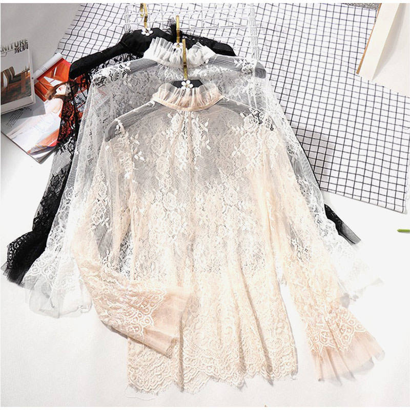 Women's Lace Ruffled Transparent Blouse Shirt Long Sleeve Crochet Black Spring Shirts Women Summer Sexy Blouses And Tops