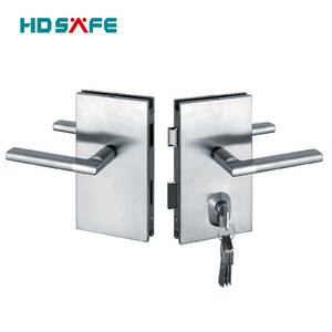 26 years manufacture stainless steel frameless swing glass door locks with lever handle