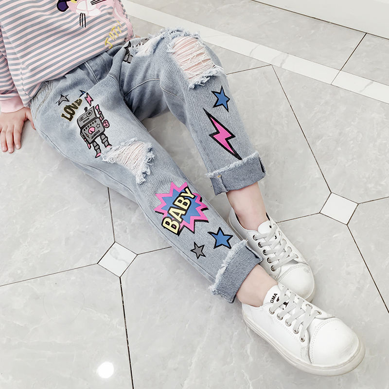 Hot Sale Girls Spring Fashionable Cartoon Printed Kids Loose Elastic Waist Jeans Pants