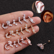 Rose Gold Plated Curved Cz Cartilage Stud Helix Rook Conch Screw Back Earring 20g Stainless Steel Ear Piercing Jewelry