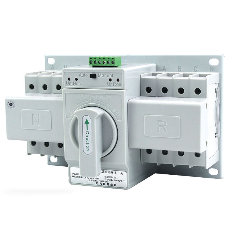 400V AC 63A 2P 3P 4P Pengguna Listrik Changeover Single Phase <span class=keywords><strong>ATS</strong></span> Dual Power Automatic Transfer Switch untuk Generator