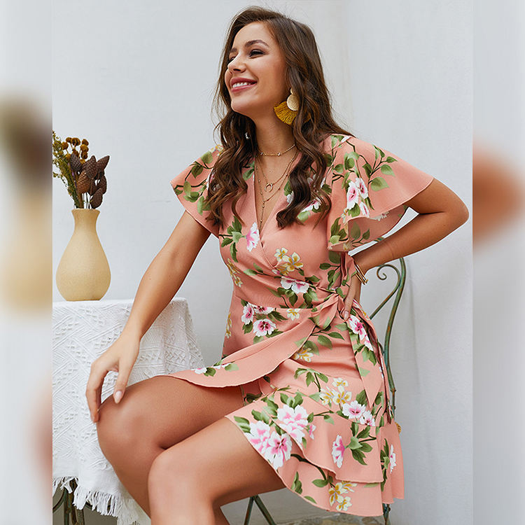 2019 Latest summer short sleeve Sexy Long Prom women floral printed sexy dress 2019