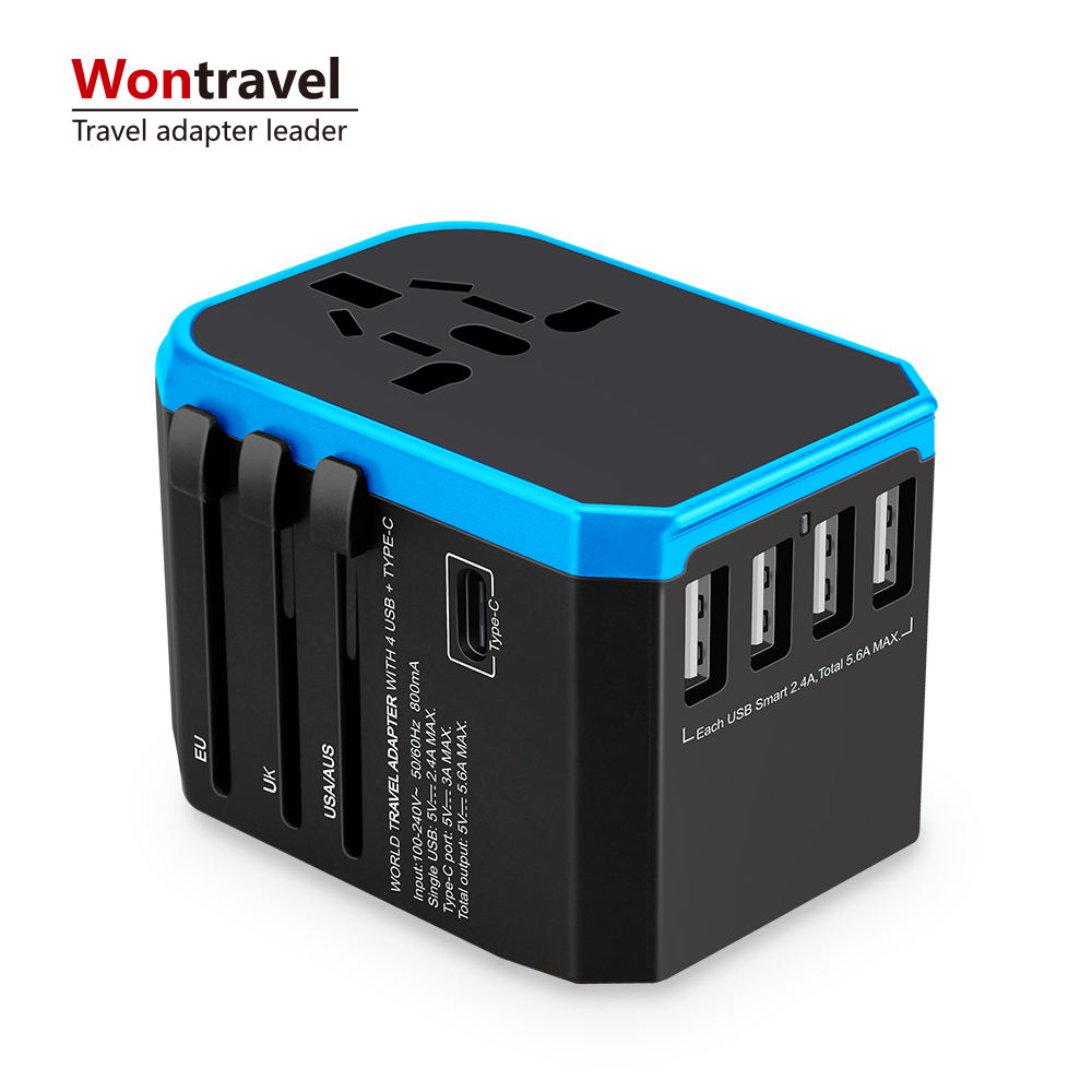 Wontravel Universal Travel Adapter Type C 3.0A USB Laders 5600mA Quick Charger Adapter Plug Outlet
