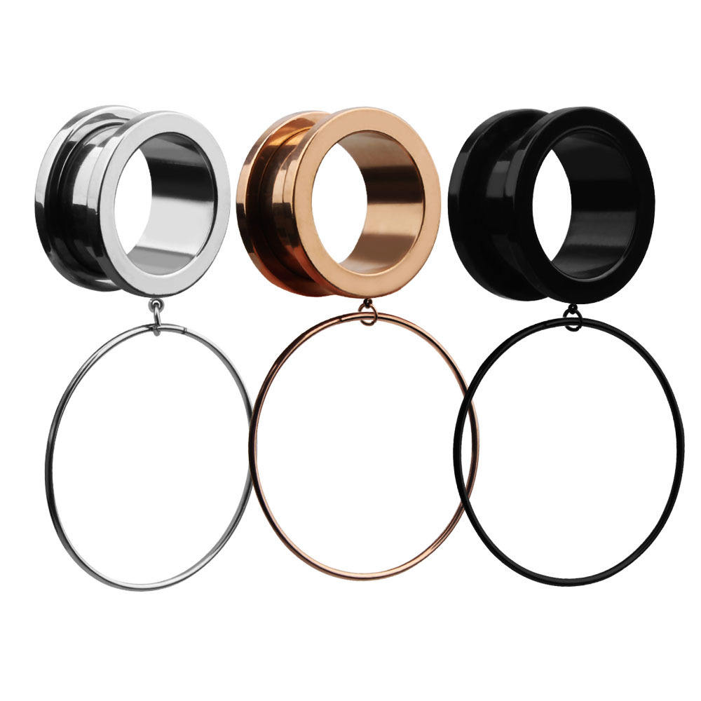 VRIUA Surgical Steel 316L Plated Silver/Rose Gold Circle Pendant Expanders Stretchers Ear Tunnels Classic Piercing