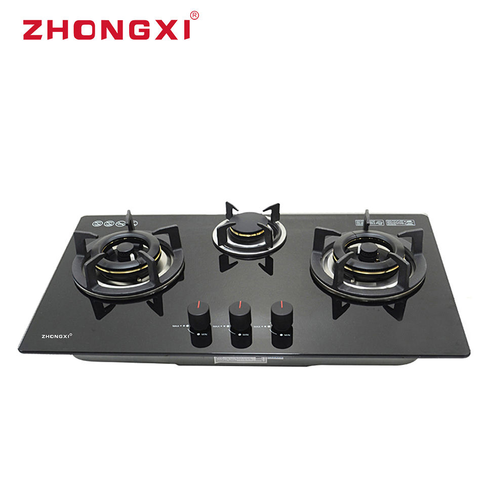 Kitchen Propane Wok Hobs Built-In Gas Hob 3 Burner Tempered Glass Gaz Hob