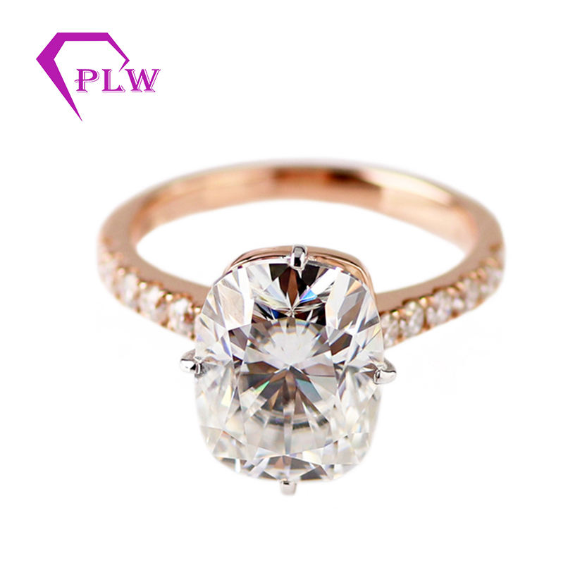 Real Gold Ring Jewelry 14K Rose Gold Color 8*10mm Elongated Cushion Cut Synthetic Moissanite Diamond Rings