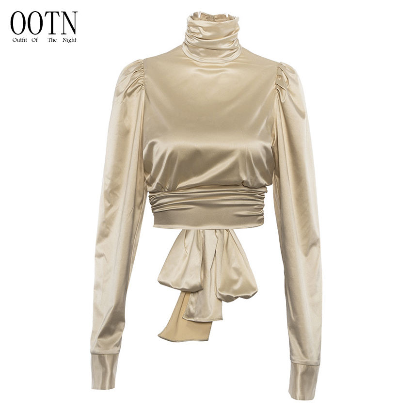 OOTN Autumn Winter 2019 Female Backless Bow Tie Back Sexy Top Women Puff Long Sleeve Satin Shirt Turtleneck Silk Crop Top Blouse