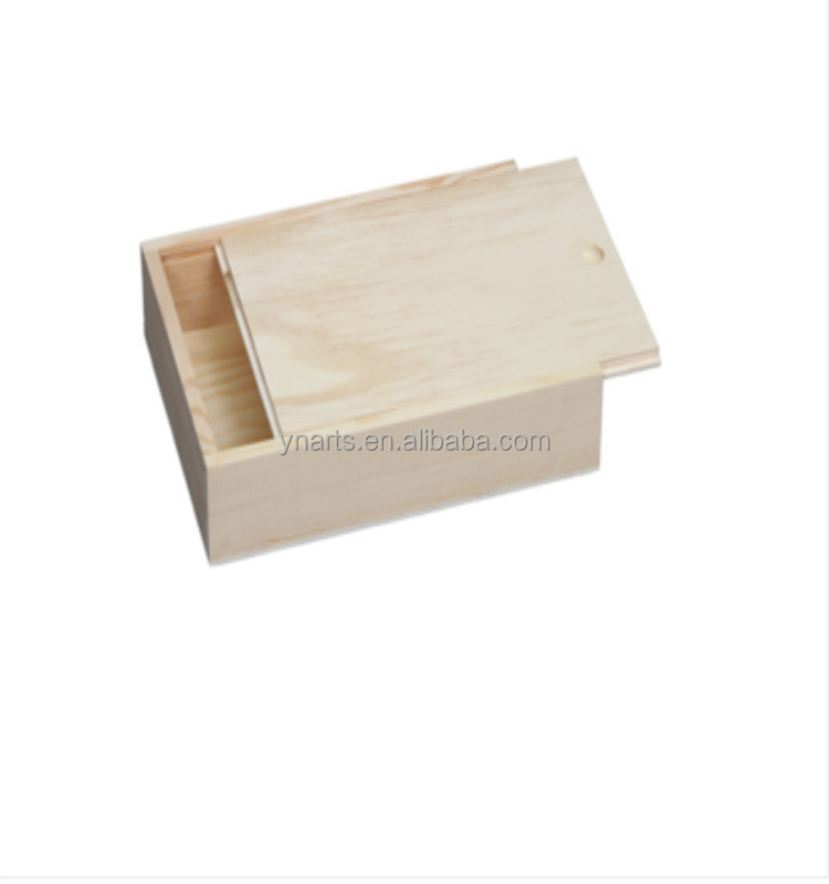 Home decor handmade wood craft pine unfinished sliding lid wooden boxes