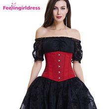 Vintage Solid Jacquard Hooks Women Underbust Steampunk Corset Dress