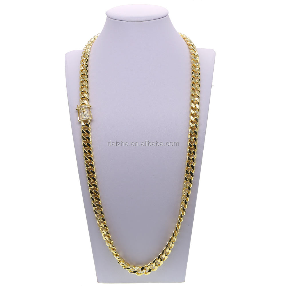 fashion micro pave cubic zirconia men jewelry cuban link chain 18k yellow gold 12mm wide men's hip hop necklace