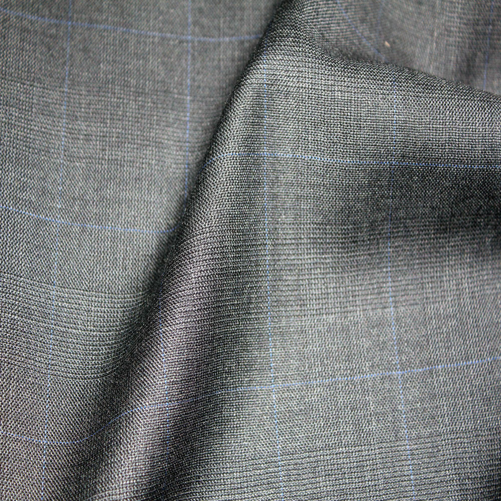 High Quality Mens Italian Plaid Grey 100 wool Suit Fabric