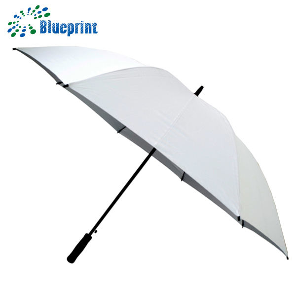 Windproof Giveaways UV Protection Strong White Golf Umbrella