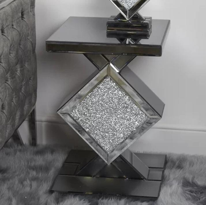 Hot sales living room furniture mirrored side table crushed diamond corner table