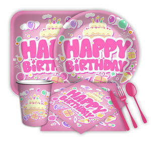 children paper cups plates and napkins party set fluorescent wrapping paper