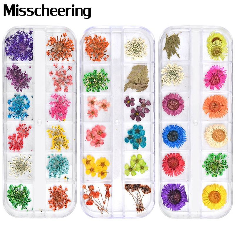 Misscheering Mix Dried Flowers Nail Decorations Jewelry Natural Floral Leaf Stickers 3D Nail Art Designs Polish Manicure