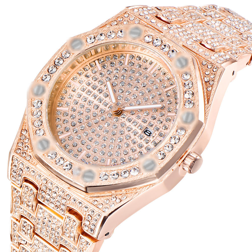 18K Gold Watch Men Luxury Diamond Iced Out Watches Top Brand Luxury High Quality Male Quartz Watch
