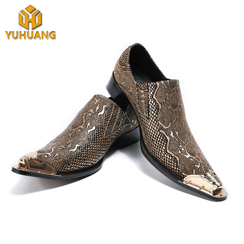 Young men fashion dress shoes metal toe pointed men's wedding banquet trend shoes