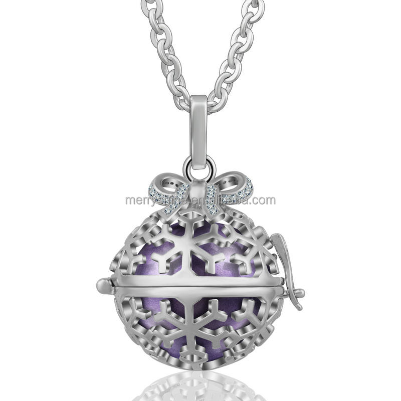 K158 Angel Caller Pendant Sterling Silver Jewelry Locket with Zircon Chime Ball Necklace